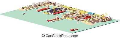 Vector low poly commercial port. Includes oil, coal, LNG,...