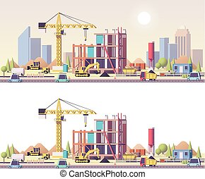 Vector low poly construction site - Vector low poly building...