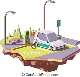 Vector low poly electric car and electric vehicle charging...