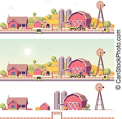 Vector low poly farm with buildings and machinery