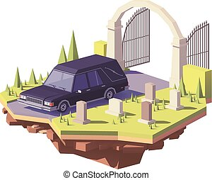 Vector low poly classic black funeral hearse car on the cemetery
