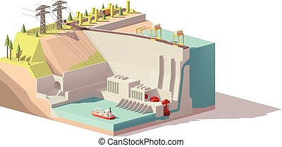 Vector low poly hydroelectric power station