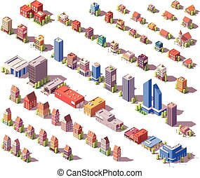 Vector low poly isometric buildings set - Vector low poly ...