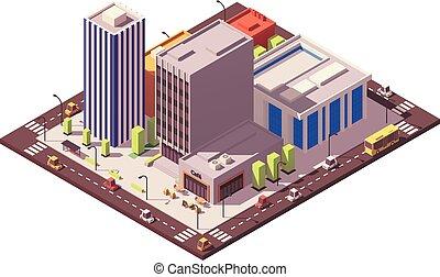 Vector low poly isometric city block
