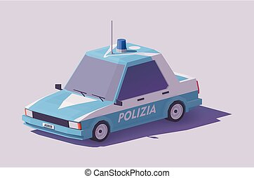 Vector low poly Italian police car