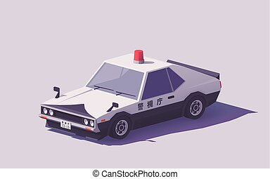 Vector low poly Japanese police car
