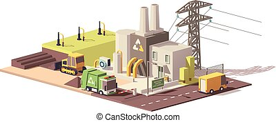 Vector low poly landfill gas collection plant icon with...
