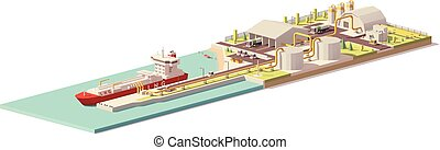 Vector low poly LNG terminal and LNG carrier ship - Vector...