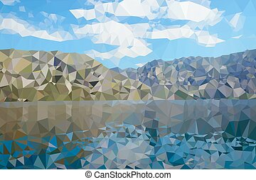 Vector low poly nature background. Sea and mountains