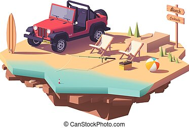 Vector low poly off-road vehicle on the beach