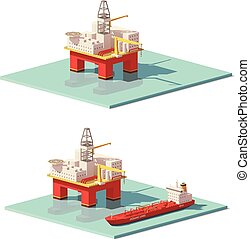 Vector low poly offshore oil rig drilling platform and oil...