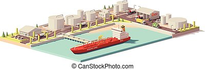 Vector low poly cargo port oil depot with tanker ship