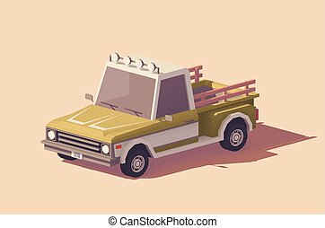 Vector low poly pickup truck