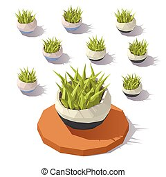 Vector low poly potted grass
