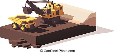 Vector low poly power shovel and haul truck
