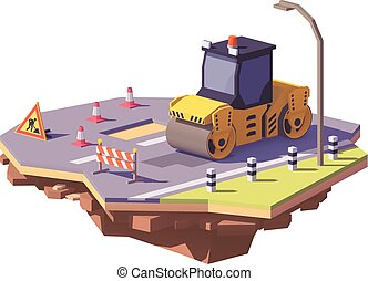 Vector low poly road roller or asphalt compactor with road...