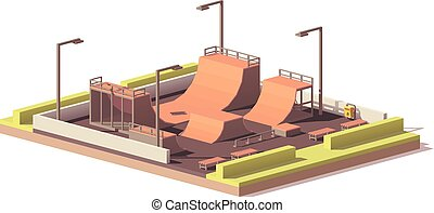 Vector low poly skate park - Vector low poly street skate...