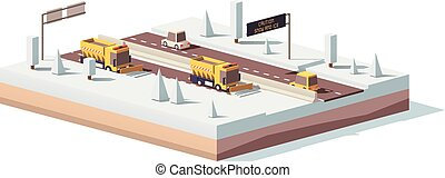 Vector low poly snowplows working on the highway - Vector...