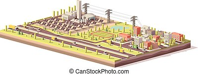 Vector low poly solar power plant and city - Vector low poly...