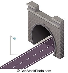 Vector low poly stone tunnel in isometric 3d perspective with asphalt road.