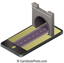 Vector low poly stone tunnel with asphalt road in mobile phone in isometric perspective.