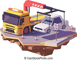 Vector low poly yellow tow truck or wrecker towing the car away from no-parking zone
