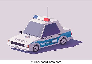 Vector low poly Turkish police car