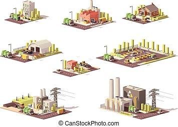 Vector low poly waste management icons - Vector low poly...