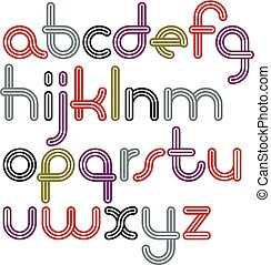 Vector lowercase funky disco alphabet letters set. Trendy...