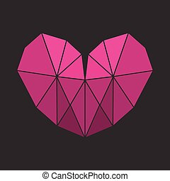 Vector Lowpoly Heart - Vector Lowpoly Pink Heart on a black...