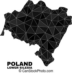 lowpoly Lower Silesian Voivodeship map. Polygonal Lower Silesian Voivodeship map vector filled with chaotic triangles.