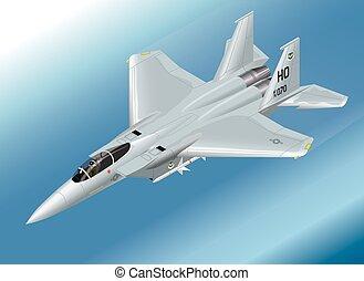 vector, lucht, f-15, vechter, isometric, straalvliegtuig, illustratie
