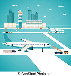 vector, luchthaven, concept