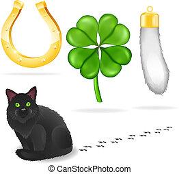 Vector luck symbols and black cat - Vector illustration,...