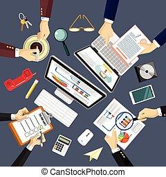 vector, lugar de trabajo, ilustración