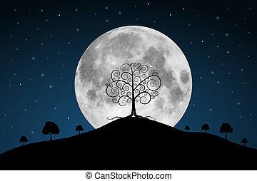 vector, luna llena, ilustración, con, estrellas, y, árboles
