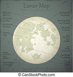 Vector lunar map. - Vector detailed lunar map with named...