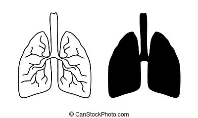 Vector lung icons on white background.