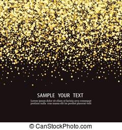 vector, luxe, zwarte achtergrond, met, goud, sparklers., ., schitteren, ., .
