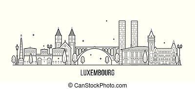 vector, luxemburgo, ciudad de edificios, contorno
