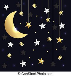 Vector luxury black background with gold stars and moon. Vector illustration