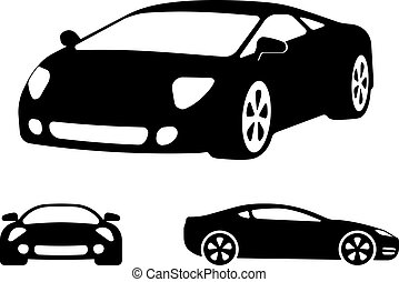 Vector luxury car silhouettes, frontal angled and side view...