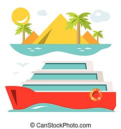Vector Luxury Cruise Ship. Flat style colorful Cartoon illustration.