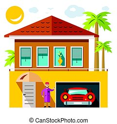 Vector Luxury House. Flat style colorful Cartoon illustration.
