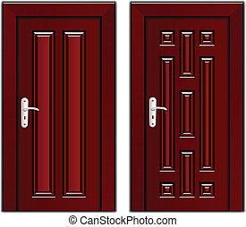vector luxury mahogany wooden door