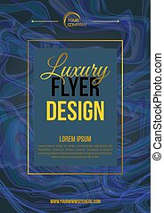 Vector luxury modern flyer template with marble texture in gold and dark blue color