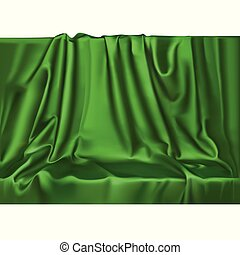 Vector luxury realistic green silk satin drape textile background. Elegant fabric shiny smooth material with waves.
