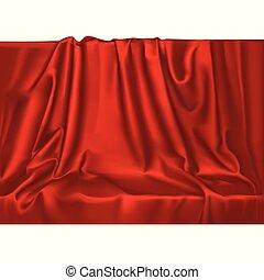 Vector luxury realistic red silk satin drape textile...