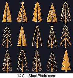 Vector Luxury rich decorative golden Christmas trees on dark blue background