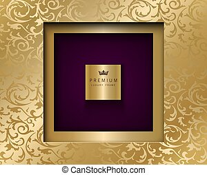 Vector luxury vintage square frame golden background. Vip invitation or announcement card paper cut design. Gold floral pattern and purple color premium backdrop